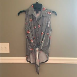 Floral and striped button up tank
